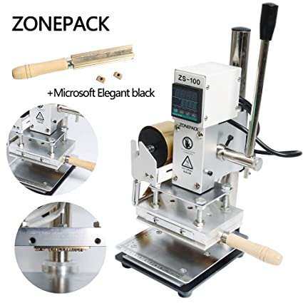 ZONEPACK Digital Embossing Machine Stamping Letter Hot Foil Stamping Machine Manual Tipper Stamper PVC Leather Pu Paper Stamping Paper Holder Machine Time Roman