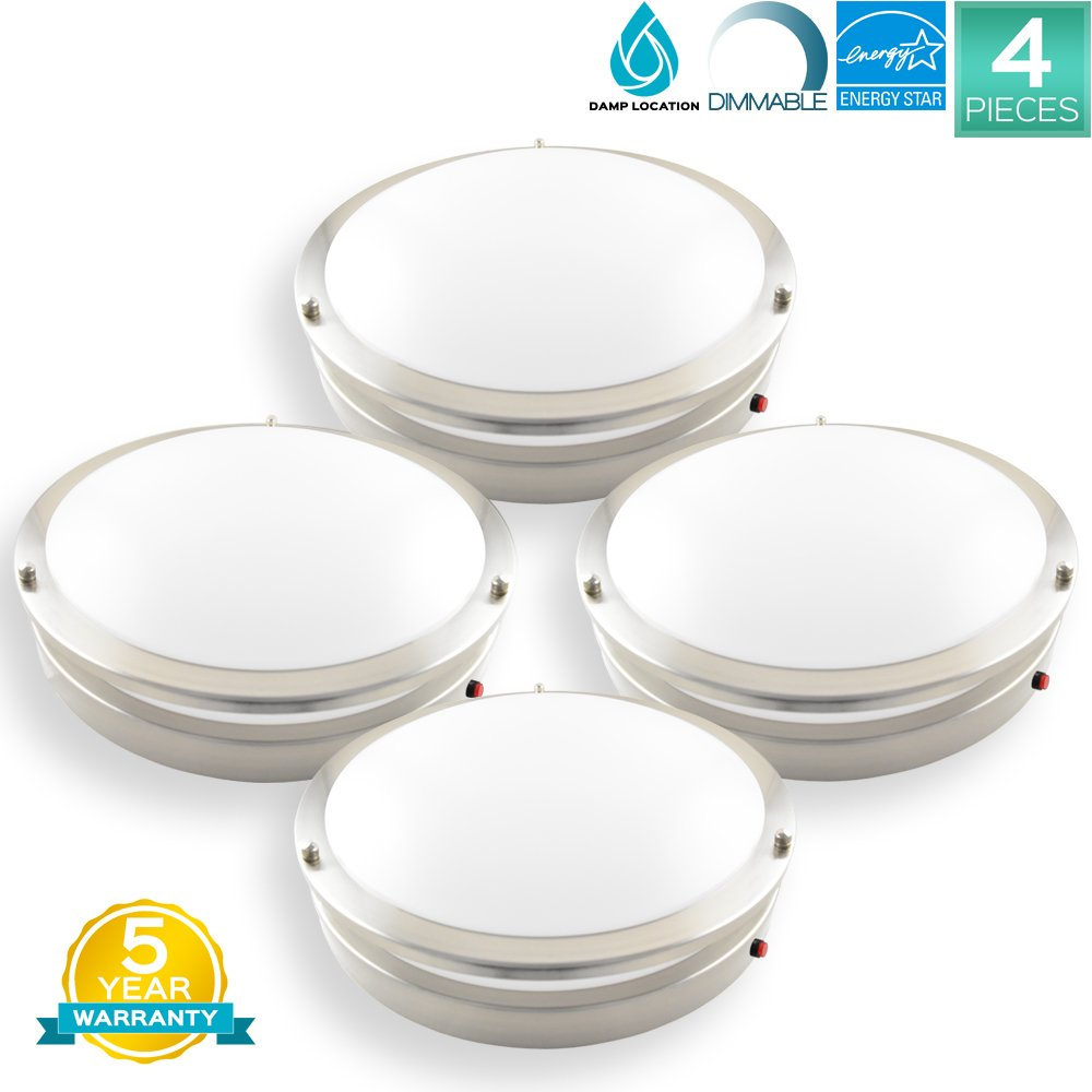 Pack of 4 Luxrite 14 Inch Flushmount LED Emergency Light For Home, Battery Backup, 22W, 4000K (Cool White), 1652LM, Dimmable, Ceiling Light Fixture, ENERGY STAR, Damp Rated