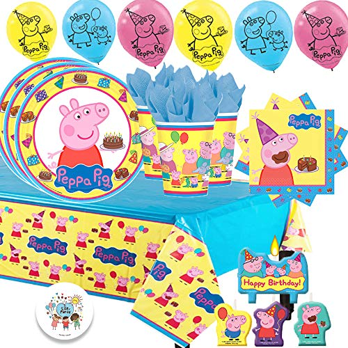Another Dream Peppa Pig Birthday Party Pack for 16 with Plates, Napkins, Cups, Tablecover, Candles, 6 Balloons, and Exclusive Birthday Pin -