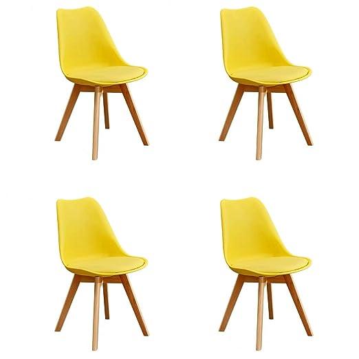 GroBKau Juego de 4 Sillas de Comedor Tulip, Sillas de Comedor Tapizadas, Asiento Acolchado Suave, Respaldo Ergonómico (Amarillo)