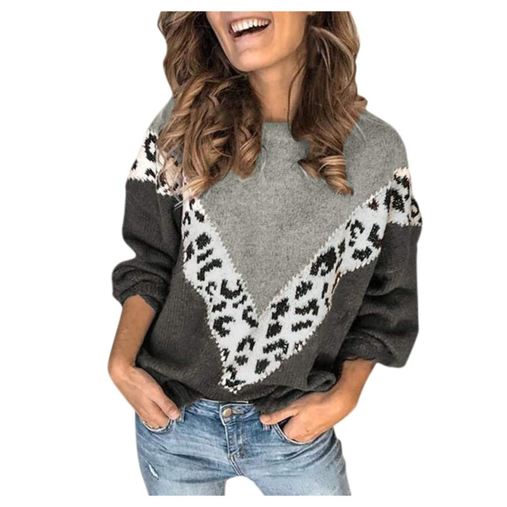 Dermanony Women Fashion Sweater Leopard Print Colorblock Splicing Crew Neck Pullover Long Sleeve Knitted Warm Sweater