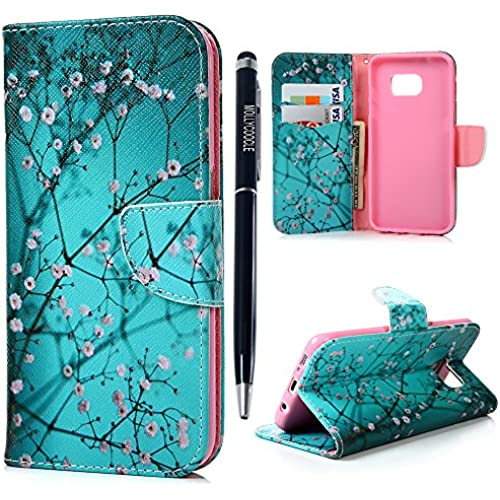 Galaxy S7 Edge Case- MOLLYCOOCLE Stand Wallet Purse Credit Card ID Holders Design Flip Folio TPU Soft Bumper Sales