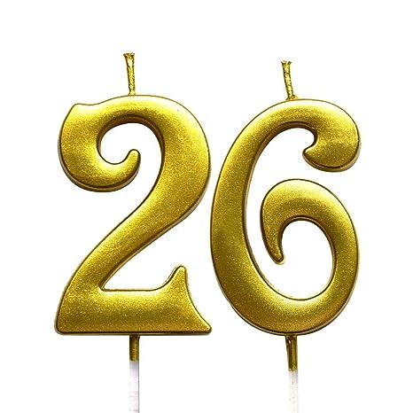 Amazon.com: Magjuche - Vela con número 26 de cumpleaños ...