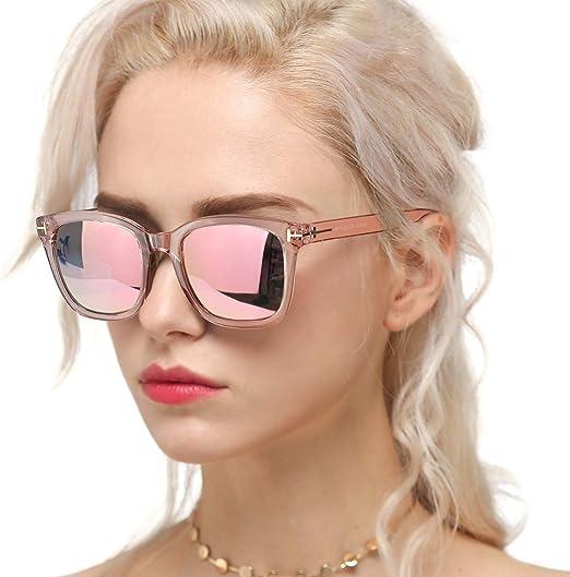 Pink Silver Mirror Aviator Sunglasses Fashion Polarized Lens Women fashion UV