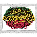Rasta Tapestry by Ambesonne, African Ethiopian Culture Wild Lion Head Grunge Style Flag Colors, Wall Hanging for Bedroom Living Room Dorm, 80 W X 60 L Inches, Brown Marigold Pink and Green
