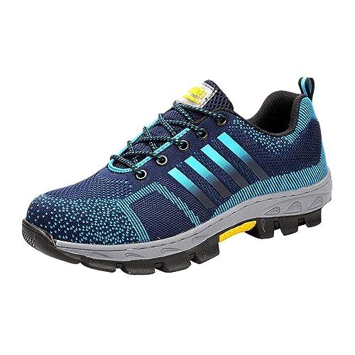 Zapatillas de Seguridad para Hombre - Ligeras Comodas Antideslizante Calzado de Trabajo Protegidos con Puntera de Acero Hombres Negro/Azul/Rojo Tamaño ...