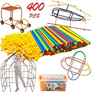 4E's Toys Straw Constructor STEM Building Toys - Colorful Interlocking Plastic Engineering Toys - Colorful