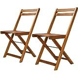 vidaXL - 2 sillas de jardín de Madera de Acacia con reposabrazos, Silla Plegable de Madera: Amazon.es: Hogar