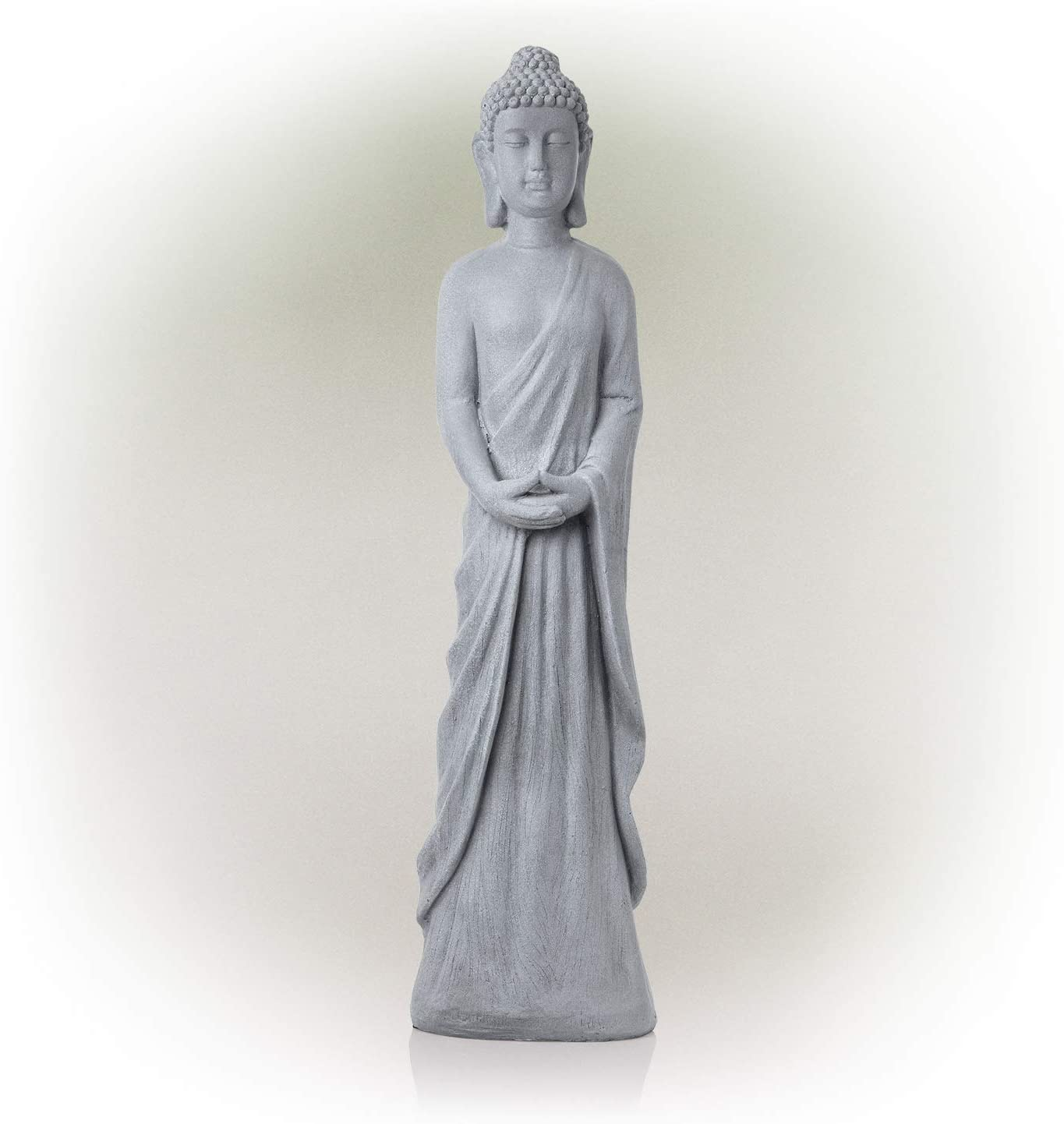 Alpine Corporation DIG286 Alpine Cement Standing Buddha Outdoor Statue, Gray