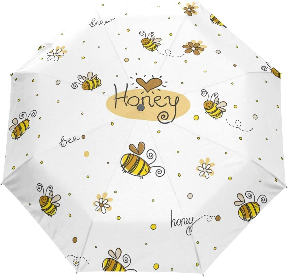 Busy Bees In Cloud Umbrella Compact Rain/&Wind Repellent Umbrellas Sun Protection With Anti UV Coating Travel Auto Folding Umbrella
