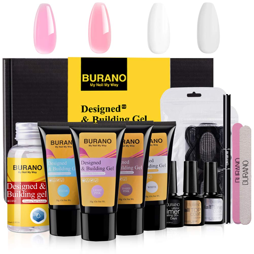 BURANO Poly Nail Gel Kit,Extension 30ml Easy Nail Builder Gel kit & Odorless Nail Gel Trial Kit for Starter, Nail Enhancement for Professional Nail Technician by BURANO