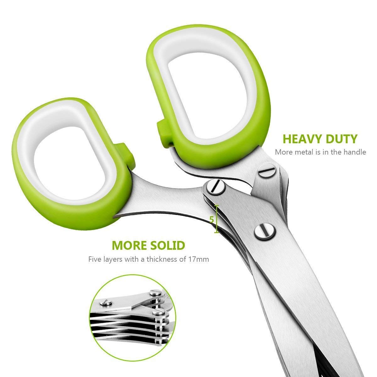 Herb Scissors, CUSIBOX Stainless Steel 5-Blade Multipurpose Kitchen Shear with Easy Cleaning Comb and Protective Cover