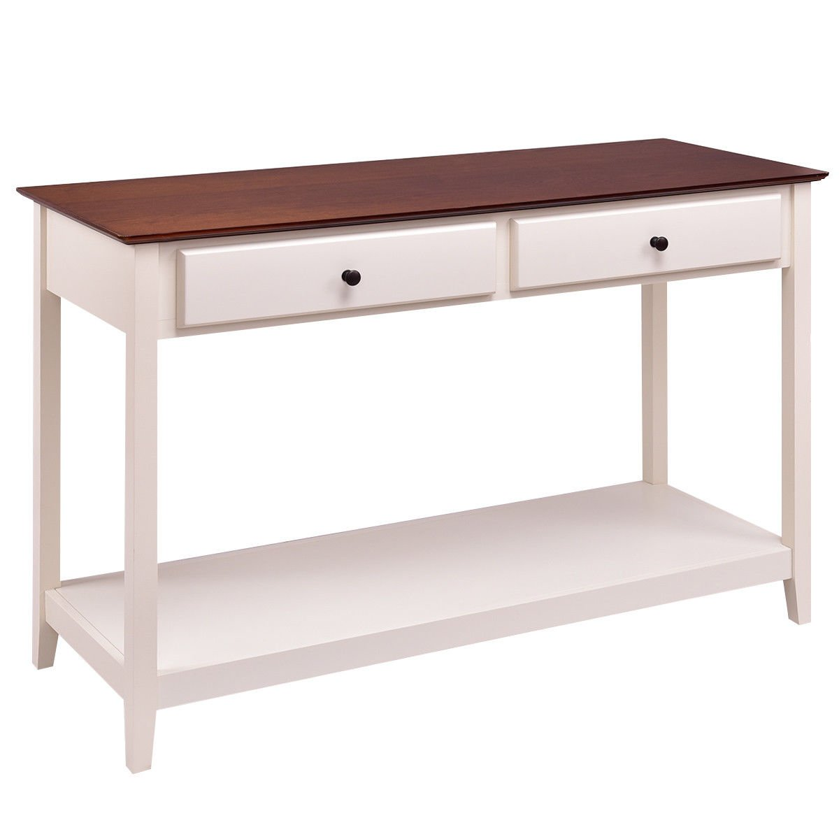 Giantex Console Sofa Table Wood Entryway Living Room Accent Stand w/Drawer and Shelf (White & Coffee) by Giantex