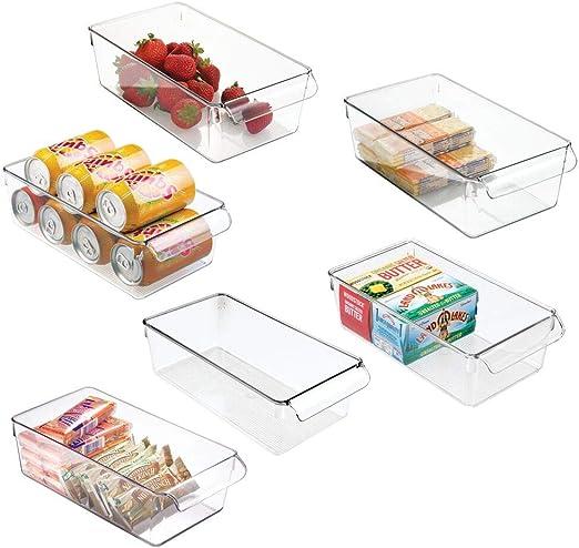 mDesign Juego de 6 cajas de almacenaje para nevera o congelador – Envases de plástico para alimentos – Contenedores de plástico grandes y con asa para la cocina – transparente: Amazon.es: Hogar
