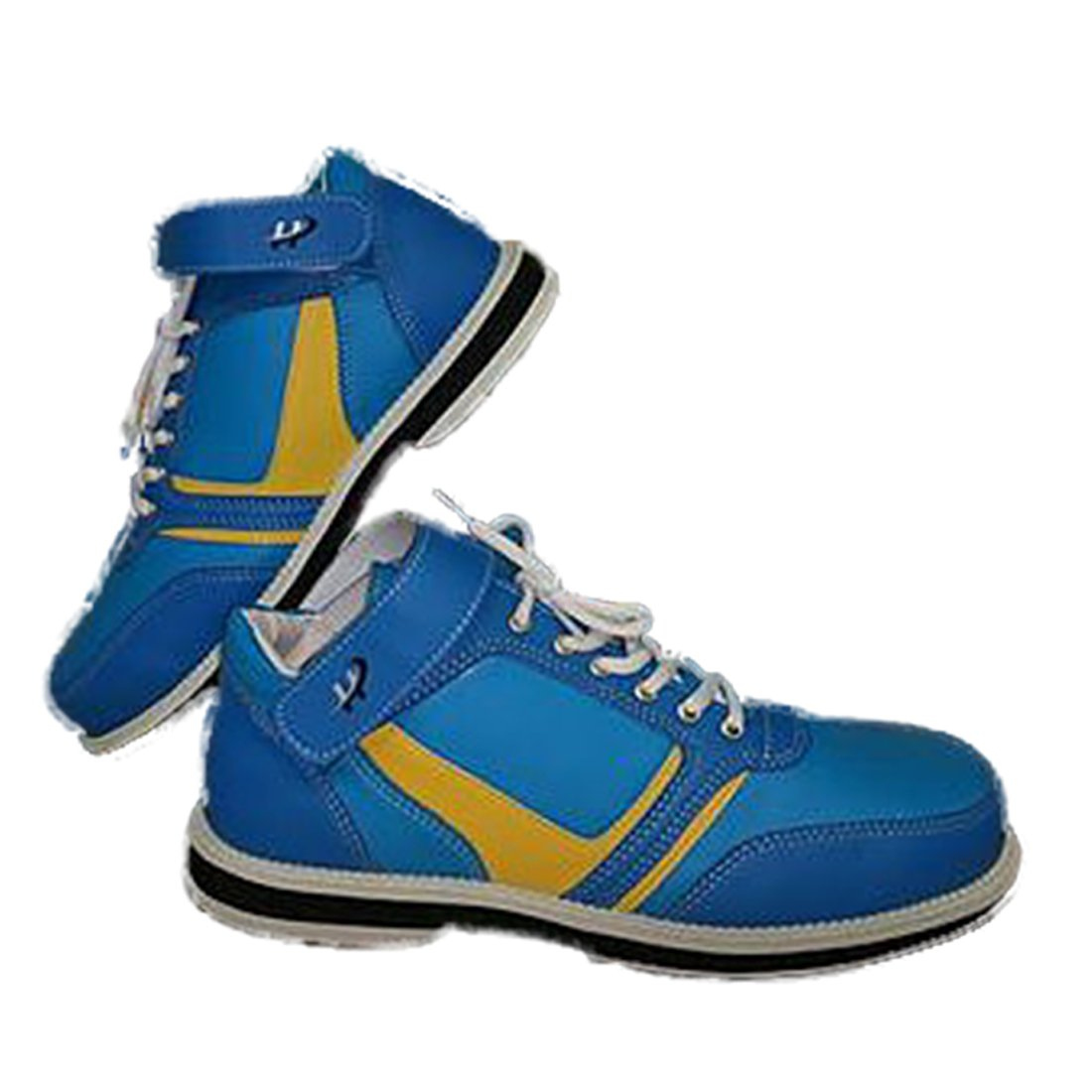 Mens High Top Bowling Shoe For Right Handed Bowler, Rubber Bottom, Foam Padded Tounge & Collar, unique style - Blue and Yellow | Size 14