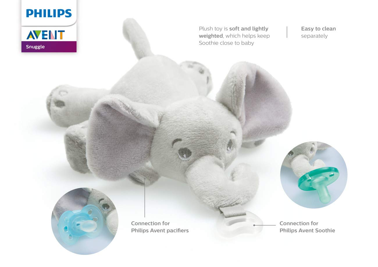 Philips Avent Soothie Snuggle Pacifier, 0-3 Month, Elephant, SCF347/03