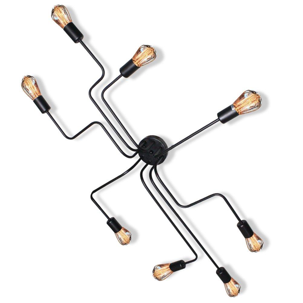 Industrial Lighting Fixtures Ceiling Flush Mount Vintage Rustic Pendant Lamp Art Dining-Room Barn Chandelier with 8 E26/E27 Lights Base Black
