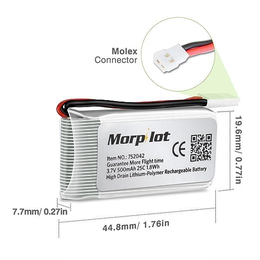 Bateria de Hubsan x4 Morpilot 6 Piezas 3.7V 500mAh 25C LiPO RC ...