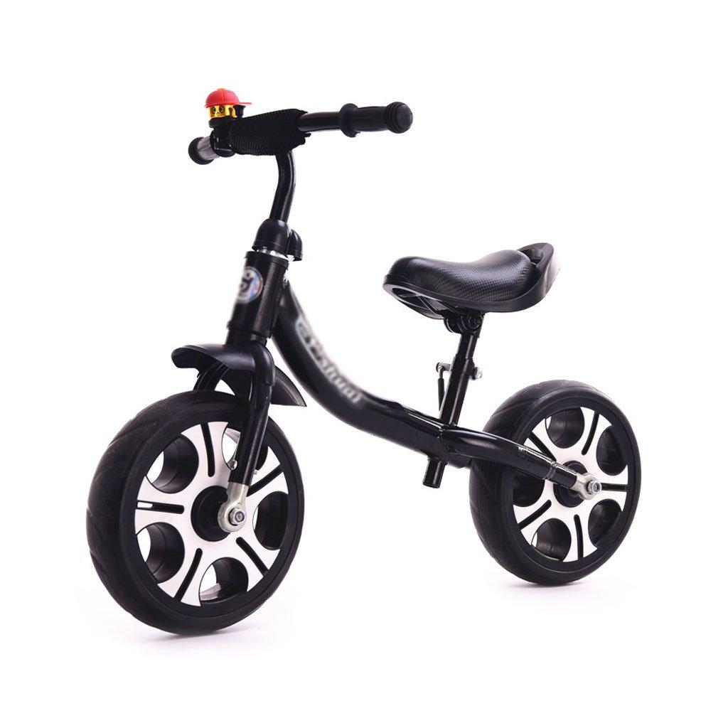 ベビースクーター子供スクーターペダルなしバギー子供ダブルホイール自転車子供スクーターベビースクーターなしペダルスクーター2ラウンドバランスカー2-8歳 B01LWUR54W Black Black