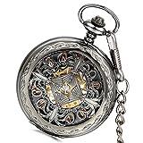 Lancardo Retro Gun-Black Chinese Knot Hollow Case Gold Tone Mechanical Movement Pocket Watch(2PCS)