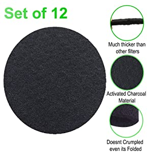 CoalFilters Countertop-Charcoal Filter Kitchen-Compost-Bucket Absorbs Odor in Bin 6.7inch Carbon-Filter (Pack of 12)