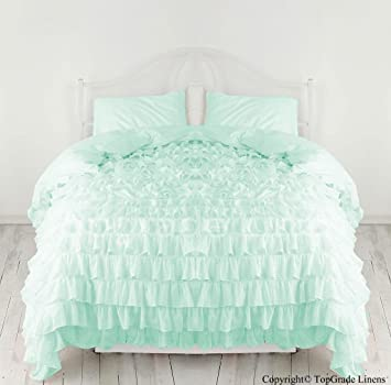 600 Tc Egyptian Cotton Waterfall Ruffle Duvet Cover Aqua Blue   All Sizes  (Twin Design