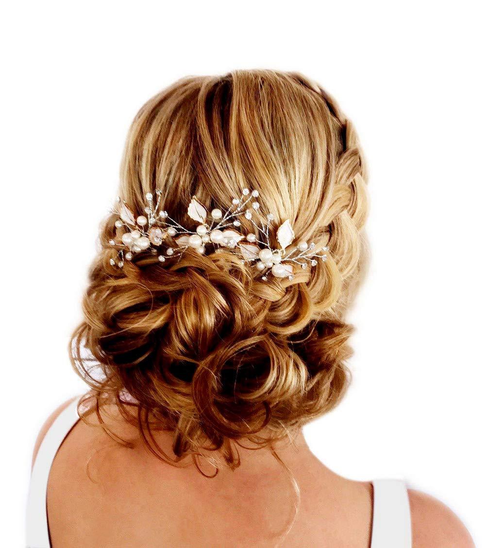 Fairy Moda Bridal Hair Pins Leaf Wedding Hair Accessories Boho Hair Clips with Simulated Pearl (Set of 3) by Fairy Moda