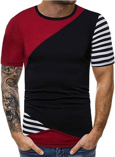 Worsworthy Camisa de Manga Corta con Paneles a Rayas para ...