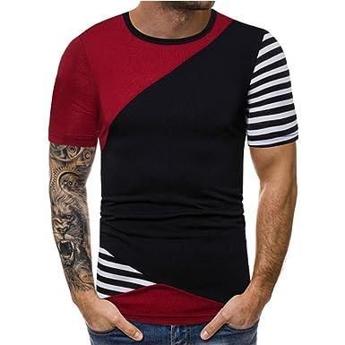 50e92022bebe SOWU Men Short Sleeve T-Shirt Men's Summer Stitching Color Casual Sport  Crewneck Slim Fit