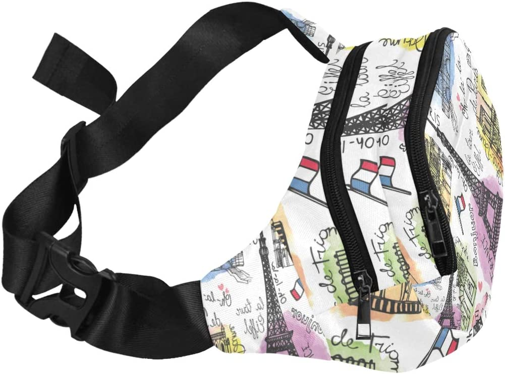 Paris Landmark Eiffel Tower Arc De Triomphe Fenny Packs Waist Bags Adjustable Belt Waterproof Nylon Travel Running Sport Vacation Party For Men Women Boys Girls Kids