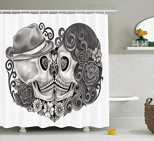 [Gothic Decor Collection Art Skull with Hat All Saints Day Mexico Culture Festival Floral Illustration Polyester Fabric Bathroom Shower Curtain Grey White] (Camper Gothic Costumes)