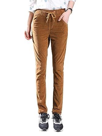 75e2bb588b4a3 AUSZOSLT Women s Retro Slim Fit Straight Leg Corduroy Pants High Rise Boot Cut  Cord Pants Khaki