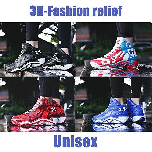 l'usure 3D 42 Résistant Basketball Blue À De Homme Sneakers Synthétique en Cuir Sport Slip Non Chaussures Soulagement Mode SfR47