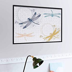 Dragonfly Wooden Puzzle Jigsaw Floral Spring Bugs Wings with Flower Petals Animal Nature Elegance Artful Motif – Fun Indoor Activity Multicolor   1,000 Piece