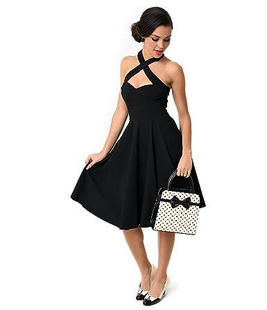 ddffe4c49 Amazon.com  Unique Vintage 1950s Style Black Criss Cross Halter Flare Rita  Dress  Clothing