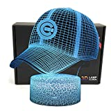 DGLighting MLB Team 3D Optical Illusion Smart 7 Colors Cap Shape LED Night Light Table Lamp with USB Power Cable (Cubs)