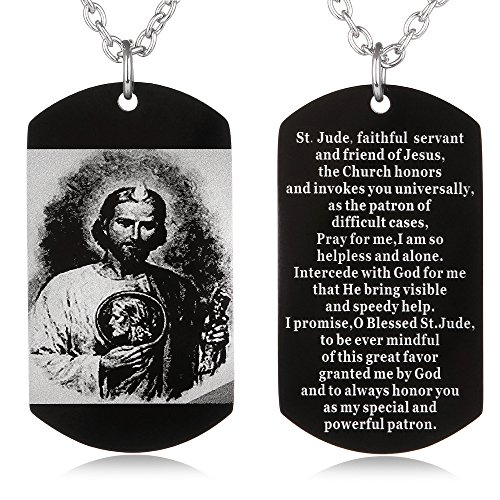 (FAYERXL St Jude Prayer Dog Tag Necklace Stainless Religious Military Pendant Catholic Jewelry Christmas Birthday Gift)