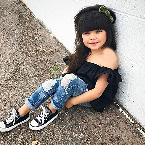 Newborn Kids Baby Girls Off Shoulder Tops Ruffle Sleeve Denim Long Pants Outfits Set Toddler Clothes (Black, 18-24M)