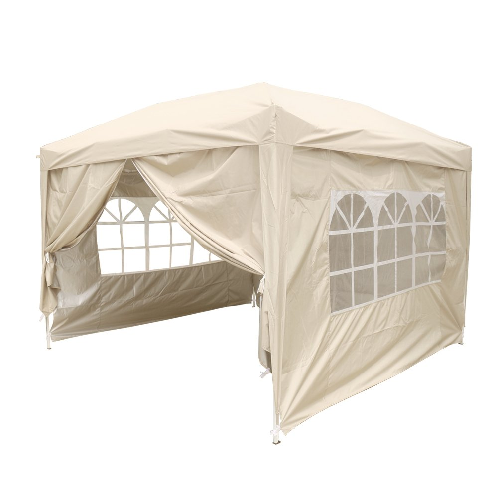 Greenbay Beige Heavy Duty Pop-up Gazebo Marquee Canopy with 4 Side Panels and Carrybag - 2m x 2m Manufactured for Greenbay