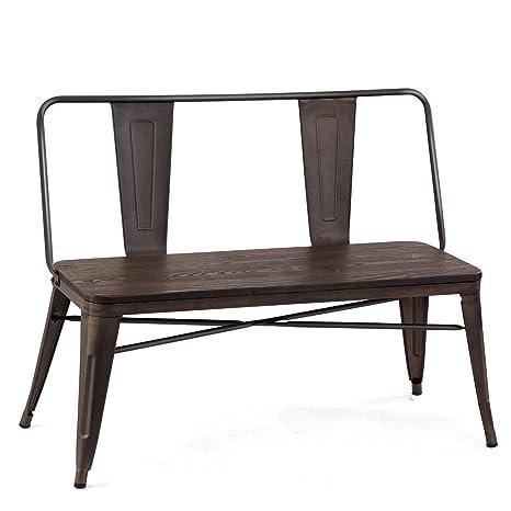 Admirable Amazon Com Mid Century Industrial Metal Dining Bench Ibusinesslaw Wood Chair Design Ideas Ibusinesslaworg