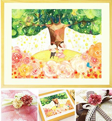 結婚記念日 結婚祝い 絵画アート 「Shine Tree」 【名前入れ可Lサイズ】 プレゼント 娘 結婚式 金婚式 お祝い 銀婚式 結婚30周年記念日 B01888LQT4 Lサイズ Lサイズ