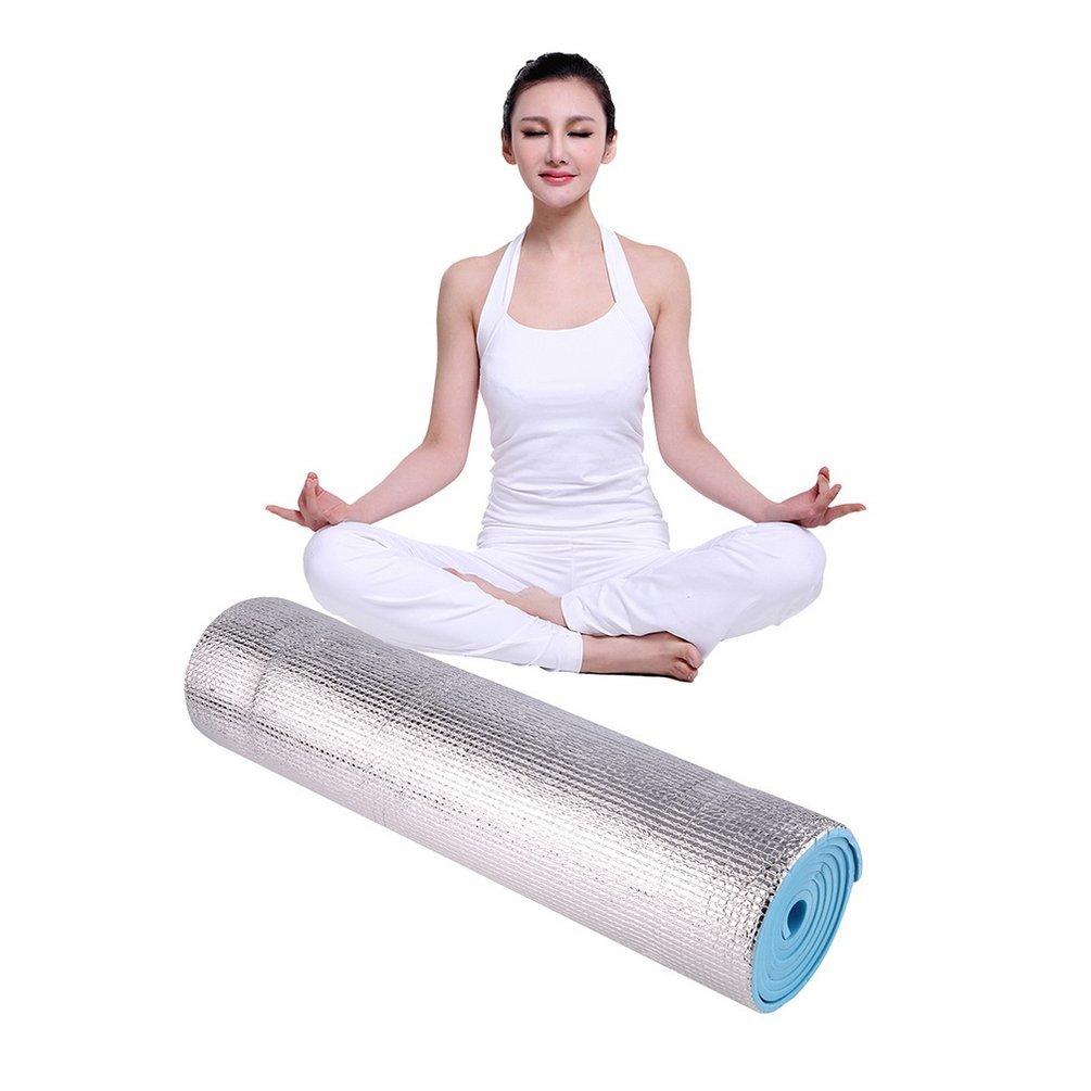 Alfombrillas de espuma de aluminio para picnic, yoga, fitness al aire libre, 180 x 50 x 0,6 cm Gugutogo