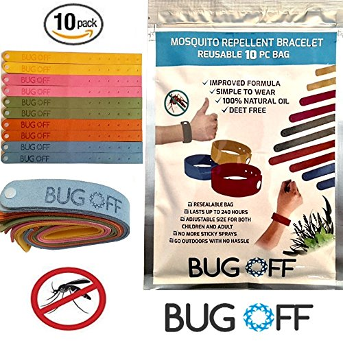 Price comparison product image BUG OFF Mosquito Repellent Bracelet Family (10-Pack) Bundle - Deet-Free Wrist Bands with Natural Essential Citronella, Lavender Oil - Indoor and Outdoor Insect Deterrent, SAFE for Kids/Babies/Toddlers