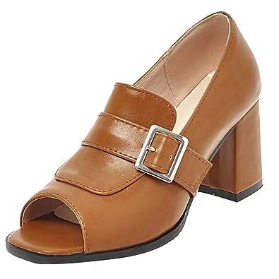 UH Damen Peep Toe High Heels Pumps mit Blockabsatz Sandalen Hochhackige Schuhe