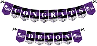 product image for Big Dot of Happiness Personalized Purple Grad - Best is Yet to Come - Custom Purple 2021 Graduation Party Bunting Banner and Decorations - Congrats Custom Name Banner