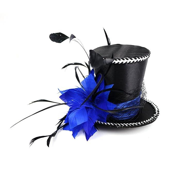 2ca4235b4f4ba Amazon.com  Mini Top Hat Blue Feather Fascinator Cocktail  Clothing