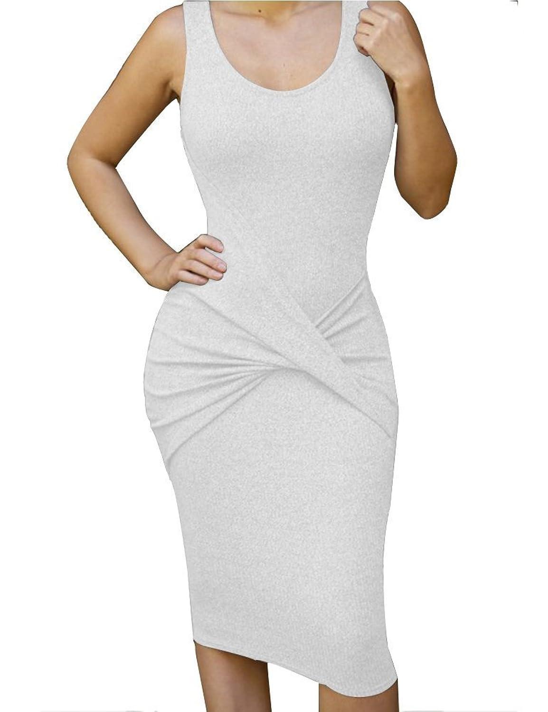 ALAIX Damen Kleid aermeloses sexy Bandage Abend Party Midi Kleid