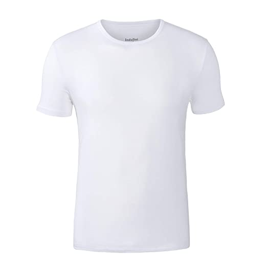 3fa1710f Indefini Men's Crew Neck Undershirts Micro Modal Short Sleeve Tees Slim Fit  Men T-Shirts