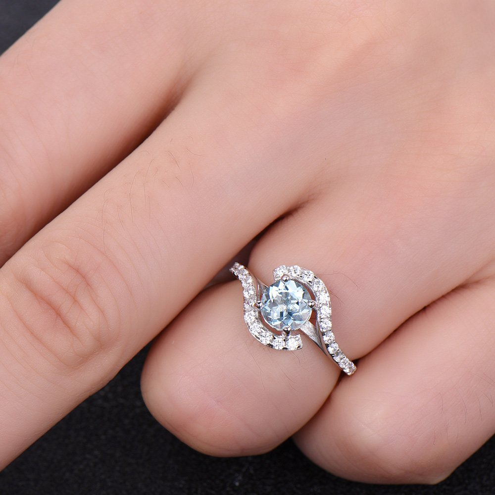 Amazon.com: Aquamarine Engagement Ring 925 Sterling Silver White ...