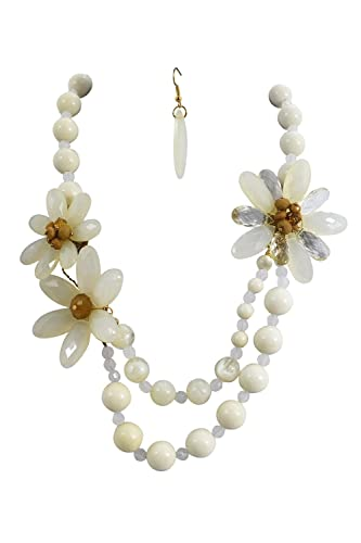 Amazon Mod Love Beaded Chunky White Flower Statement Necklace
